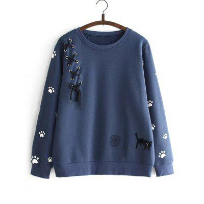 Footprint Criss Cross Ribbon Sweatshirt