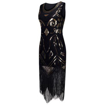 Sequins Fringed Midi Party DressBodycon Dresses<br>Sequins Fringed Midi Party Dress<br><br>Dresses Length: Mid-Calf<br>Embellishment: Sequins,Tassel<br>Material: Polyester<br>Neckline: V-Neck<br>Package Contents: 1 x Dress<br>Pattern Type: Patchwork<br>Season: Fall, Spring<br>Silhouette: Bodycon<br>Sleeve Length: Sleeveless<br>Style: Gorgeous<br>Weight: 0.4500kg<br>With Belt: No