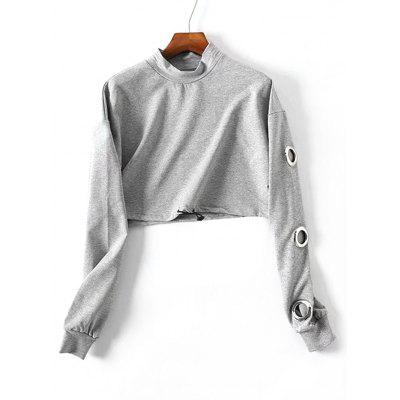 Metallic Rings Gathered Cropped Sweatshirt