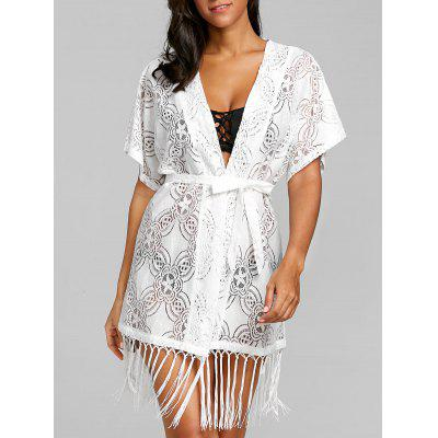 Fringed Open Front Crochet Cover Up Top