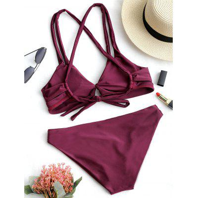 Cross Back Low Waist Bikini SetLingerie &amp; Shapewear<br>Cross Back Low Waist Bikini Set<br><br>Bra Style: Padded<br>Elasticity: Elastic<br>Embellishment: Criss-Cross<br>Gender: For Women<br>Material: Nylon, Spandex<br>Neckline: Spaghetti Straps<br>Package Contents: 1 x Bra  1 x Briefs<br>Pattern Type: Solid Color<br>Support Type: Wire Free<br>Swimwear Type: Bikini<br>Waist: Low Waisted<br>Weight: 0.2100kg