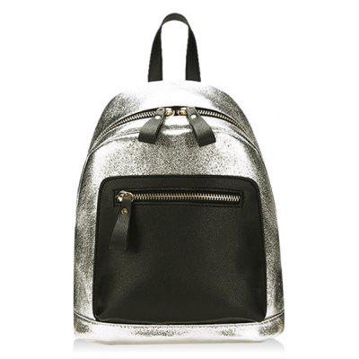 Contrasting Color PU Leather Backpack