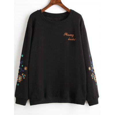 Buy BLACK 4XL Plus Size Graphic Embroidered Fleece Lined Sweatshirt for $30.42 in GearBest store
