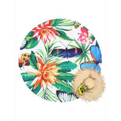 Round Plant Insect Print Beach Throw