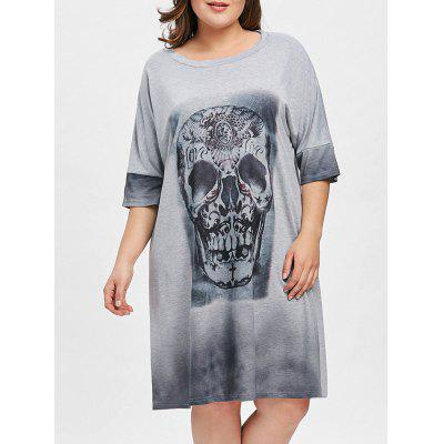 Plus Size Skull Graphic Tunic T-shirt