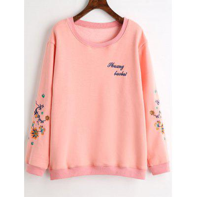 Buy PINK 3XL Plus Size Graphic Embroidered Fleece Lined Sweatshirt for $30.42 in GearBest store