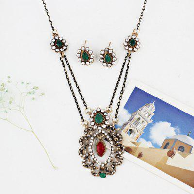 Bohemian Rhinestone Teardrop Jewelry SetJewelry Sets<br>Bohemian Rhinestone Teardrop Jewelry Set<br><br>Gender: For Women<br>Item Type: Pendant Necklace<br>Length: 60CM (Necklace)/1.4CM (Earring)<br>Necklace Type: Link Chain<br>Package Contents: 1 x Necklace 1 x Earring (Pair)<br>Shape/Pattern: Water Drop<br>Style: Trendy<br>Weight: 0.0340kg