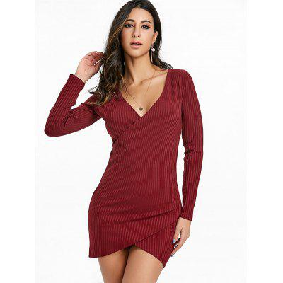 Surplice Neck Rip Bodycon Mini DressBodycon Dresses<br>Surplice Neck Rip Bodycon Mini Dress<br><br>Dresses Length: Mini<br>Elasticity: Elastic<br>Material: Cotton, Polyester<br>Neckline: Plunging Neck<br>Package Contents: 1 x Dress<br>Pattern Type: Solid Color<br>Season: Fall, Spring, Winter<br>Silhouette: Bodycon<br>Sleeve Length: Long Sleeves<br>Style: Brief<br>Weight: 0.3900kg<br>With Belt: No