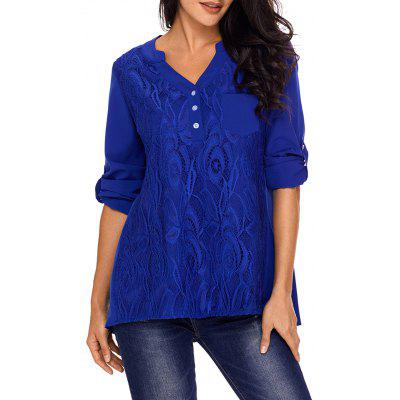 Lace Panel V Neck High Low Blouse