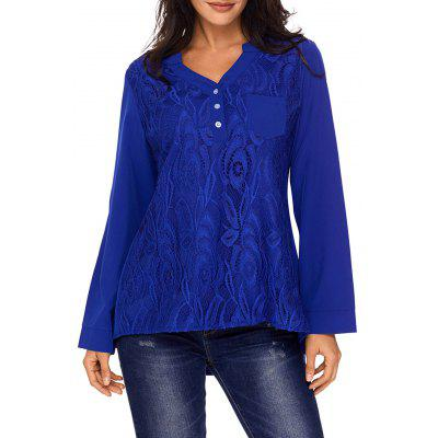 Lace Panel V Neck High Low BlouseBlouses<br>Lace Panel V Neck High Low Blouse<br><br>Collar: V-Neck<br>Embellishment: Button,Lace,Pockets<br>Material: Polyester<br>Package Contents: 1 x Blouse<br>Pattern Type: Solid<br>Season: Fall, Spring<br>Shirt Length: Long<br>Sleeve Length: Full<br>Style: Fashion<br>Weight: 0.3600kg