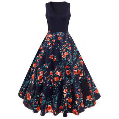 V-neck Floral Insert Vintage Flare Dress