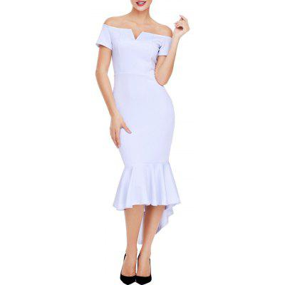 Buy WHITE L V Cut Open Shoulder Bodycon Mermaid Dress for $24.63 in GearBest store