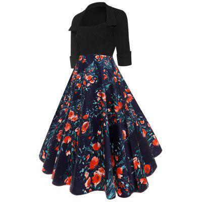 Floral Panel High Waist Vintage DressWomens Dresses<br>Floral Panel High Waist Vintage Dress<br><br>Dresses Length: Knee-Length<br>Material: Polyester, Spandex<br>Neckline: Turn-down Collar<br>Package Contents: 1 x Dress<br>Pattern Type: Floral<br>Season: Fall, Spring, Winter<br>Silhouette: A-Line<br>Sleeve Length: Half Sleeves<br>Style: Vintage<br>Weight: 0.4700kg<br>With Belt: No
