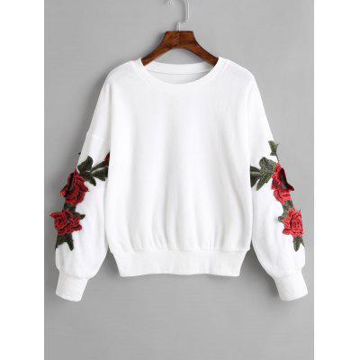 Flower Appliques Drop Shoulder Sweatshirt
