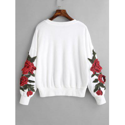 Flower Appliques Drop Shoulder Sweatshirt two tone drop shoulder sweatshirt