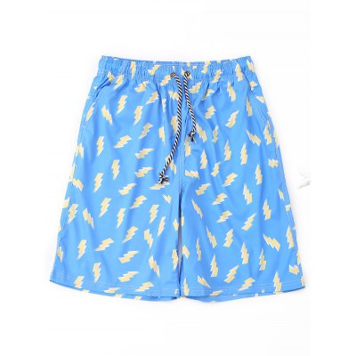 Drawstring Lightning Print Board Shorts