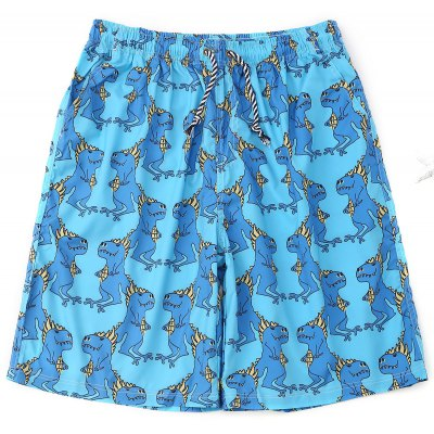 Animals Print Drawstring Board Shorts