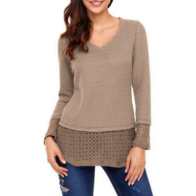 Crochet Panel V Neck Knit Top