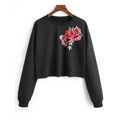 Flower Patched Crew Neck Sweatshirt