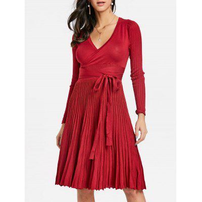 V Neck Knitted Pleated Dress