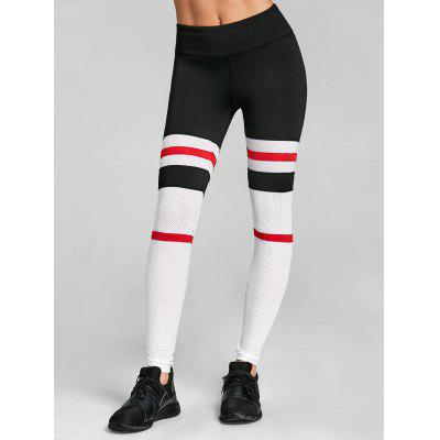 Openwork Stripe Panel Workout Leggings