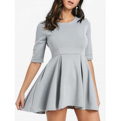 Plain Color Fit and Flare Mini Dress