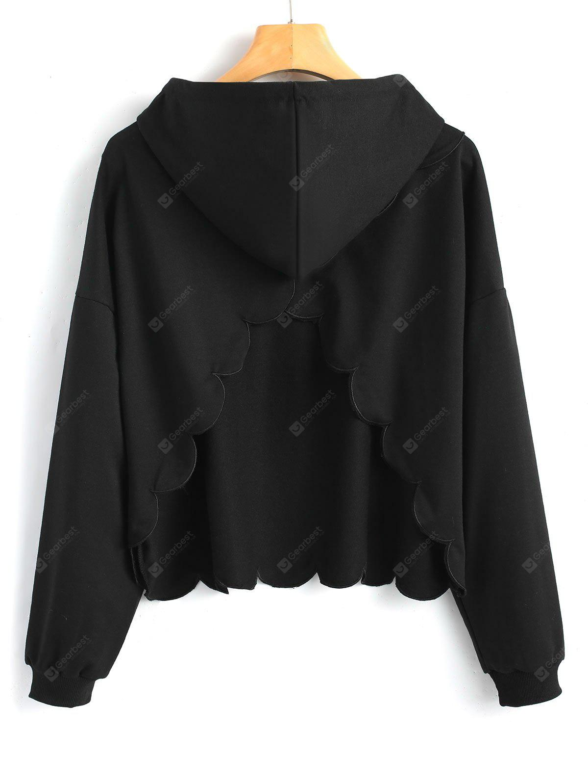 Piped Scalloped Cut Out Hoodie