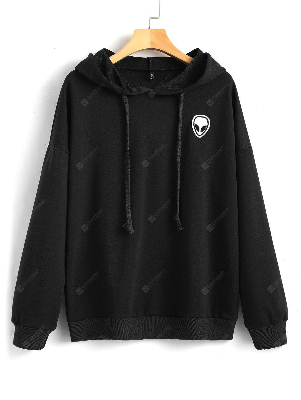 Skull Patches Drawstring Hoodie