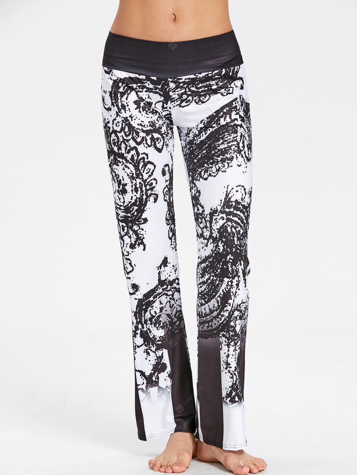High Waist Ethnic Print Wide Leg Pants