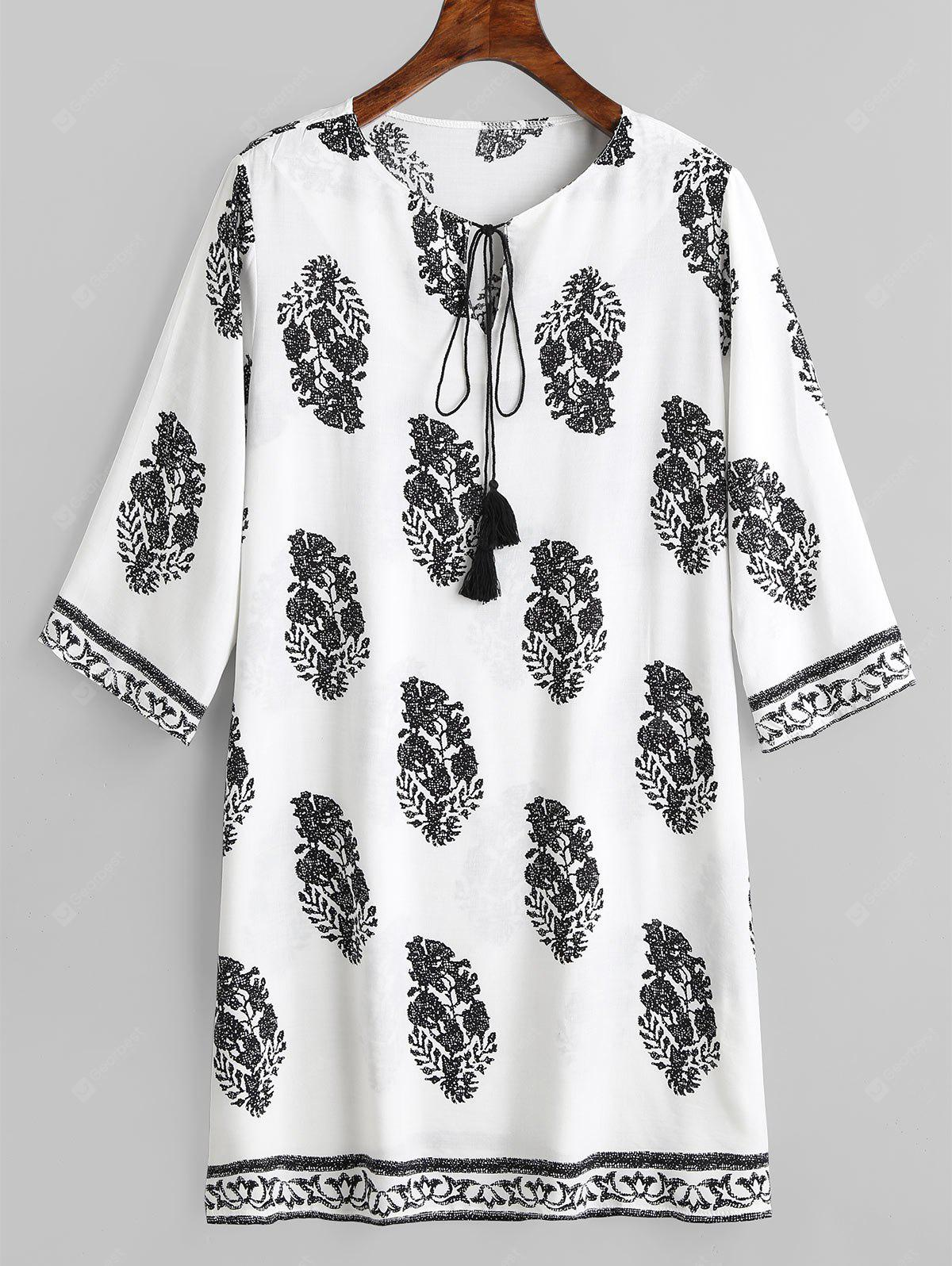Leaves Print Shift Bowtie Collar Dress