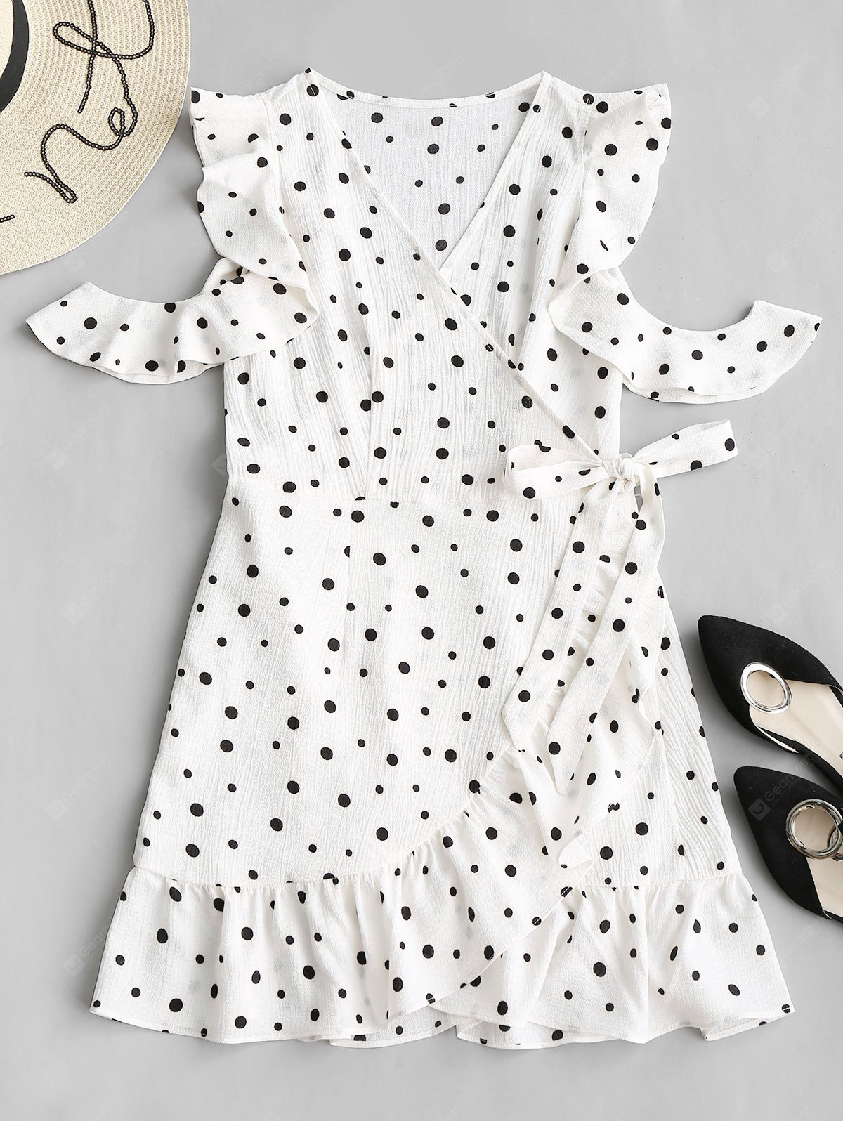 OpenShoulder Frills Polka Dot Mini Dress