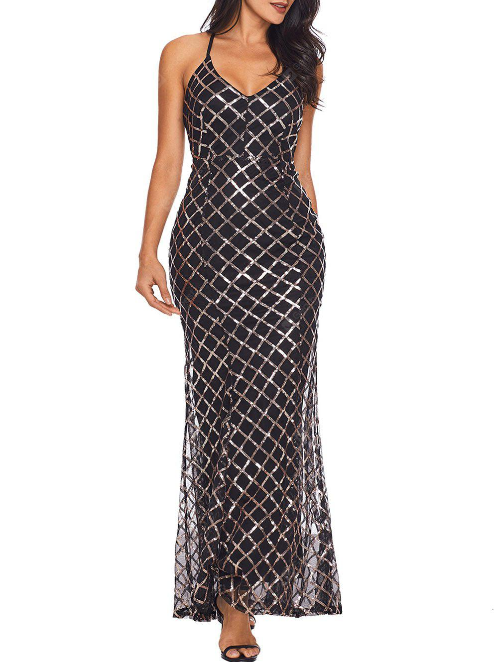 Sequin Cami Strap Backless Tulle Maxi Dress