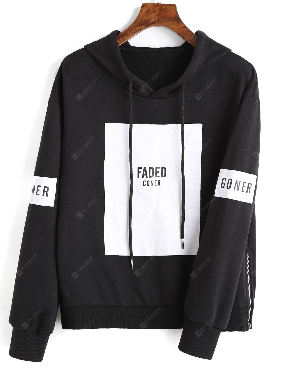 Letter Contrast Drawstring Hoodie