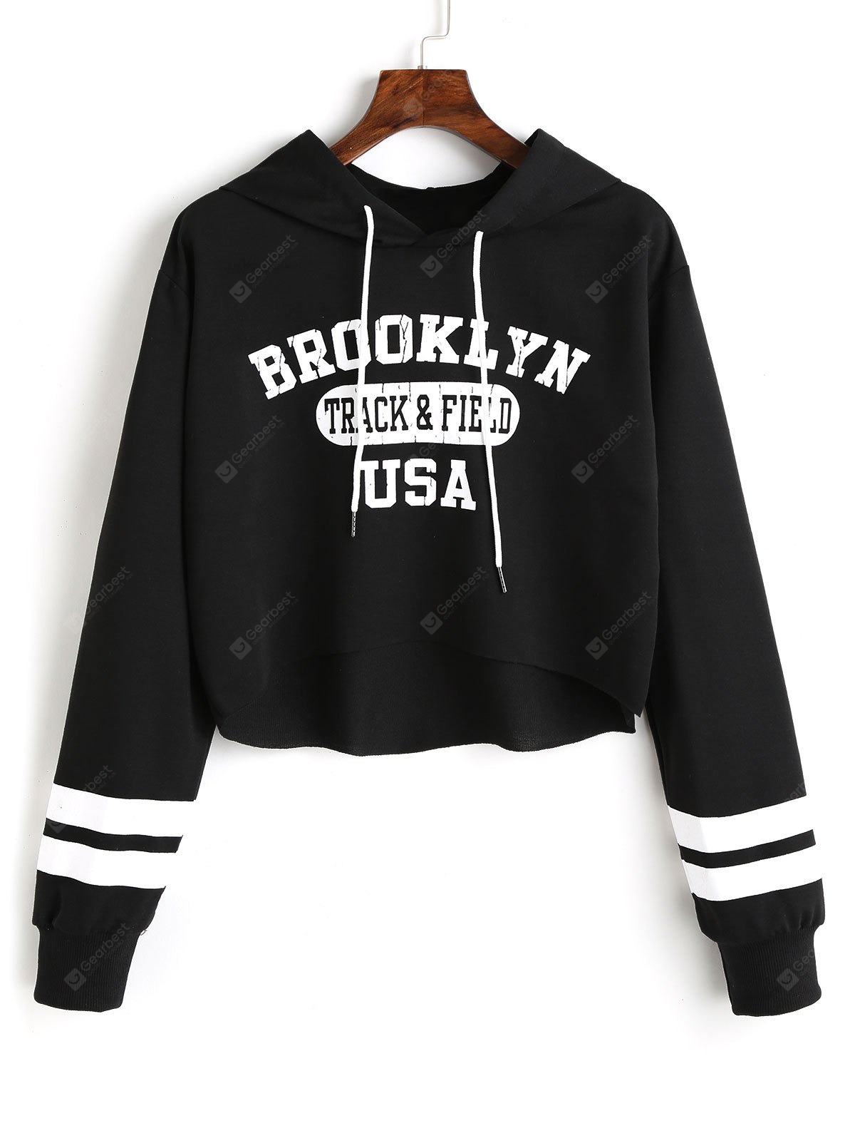 Letter Graphic Pattern High Low Hoodie