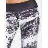 High Waist Ethnic Print Wide Leg Pants - WHITE AND BLACK