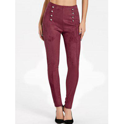 Faux Suede High Waist Double Breasted Pants