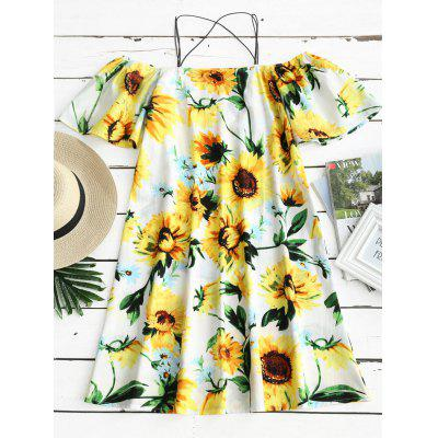 Sunflower Print Open Shoulder Cami Dress