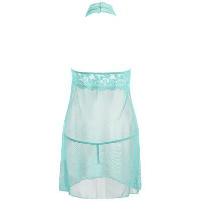 Halter Lace Mesh Sheer BabydollPajamas<br>Halter Lace Mesh Sheer Babydoll<br><br>Embellishment: Backless,Lace<br>Material: Cotton, Polyester<br>Package Contents: 1 x Babydoll  1 x T Back<br>Pattern Type: Solid<br>Weight: 0.2000kg