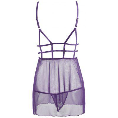Lace Mesh Slip Caged BabydollPajamas<br>Lace Mesh Slip Caged Babydoll<br><br>Embellishment: Hollow Out,Lace<br>Material: Cotton, Polyester<br>Package Contents: 1 x Babydoll  1 x T Back<br>Pattern Type: Solid<br>Weight: 0.1500kg