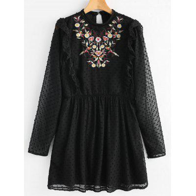 Flower Patched Ruffles Embellished Dress