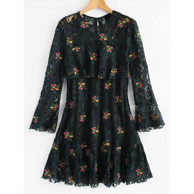 Bell Sleeve Flounce Floral Lace Dress