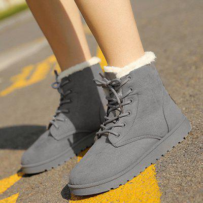 Lace Up Ankle Snow BootsWomens Boots<br>Lace Up Ankle Snow Boots<br><br>Boot Height: Ankle<br>Boot Type: Snow Boots<br>Closure Type: Lace-Up<br>Gender: For Women<br>Heel Height Range: Flat(0-0.5)<br>Heel Type: Flat Heel<br>Package Contents: 1 x Boots (pair)<br>Pattern Type: Solid<br>Season: Spring/Fall, Winter<br>Shoe Width: Medium(B/M)<br>Toe Shape: Round Toe<br>Upper Material: Suede<br>Weight: 1.1200kg