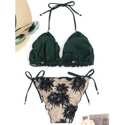 Coconut Palm Scrunch String Bikini SetLingerie &amp; Shapewear<br>Coconut Palm Scrunch String Bikini Set<br><br>Bikini Type: String Bikini<br>Bra Style: Padded<br>Elasticity: Elastic<br>Gender: For Women<br>Material: Nylon, Spandex<br>Neckline: Halter<br>Package Contents: 1 x Bra  1 x Briefs<br>Pattern Type: Plant<br>Style: Sexy<br>Support Type: Wire Free<br>Swimwear Type: Bikini<br>Waist: Low Waisted<br>Weight: 0.2000kg