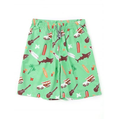 Drawstring Cartoon Print Board Shorts