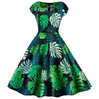 Robe Pin-Up Vintage à Imprimé Tropical