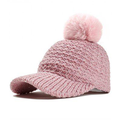 Fuzzy Ball Embellished Sequins Knitted Baseball Hat