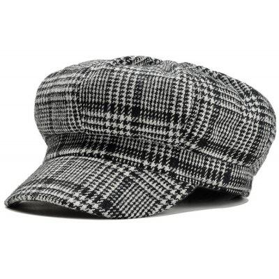 Unique Houndstooth Pattern Embellished Woolen Beret