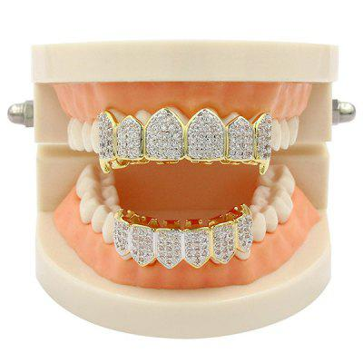 Rhinestone Hip Hop Top and Bottom Teeth Grillz SetRhinestone Hip Hop Top and Bottom Teeth Grillz Set<br><br>Body Jewelry Type: Grillz/Dental Grills<br>Length: 5.2CM(Top) /4CM (Bottom)<br>Package Content: 2 x Caps 2 x Silicone Bars<br>Shape/Pattern: Geometric<br>Style: Trendy<br>Weight: 0.0510kg