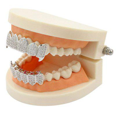 Rhinestone Hip Hop Top and Bottom Teeth Grillz SetBody Jewelry<br>Rhinestone Hip Hop Top and Bottom Teeth Grillz Set<br><br>Body Jewelry Type: Grillz/Dental Grills<br>Length: 5.2CM(Top) /4CM (Bottom)<br>Package Content: 2 x Caps 2 x Silicone Bars<br>Shape/Pattern: Geometric<br>Style: Trendy<br>Weight: 0.0510kg