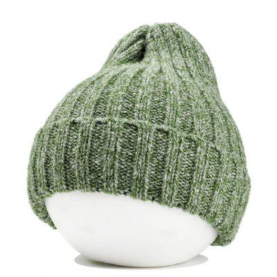 Simple Crochet Knitted Flanging Beanie - Green